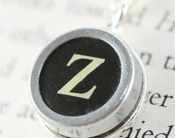 Vintage Typewriter Key Pendant and Necklace - Initial Z