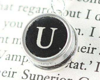 Vintage Typewriter Key Pendant and Necklace - Initial U