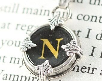 Typewriter Key Pendant with Necklace in The Initial N
