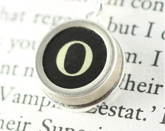 Vintage Typewriter Key Pendant and Necklace - Initial O