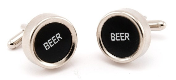 Vintage Beer Black Cash Register Key Cufflinks