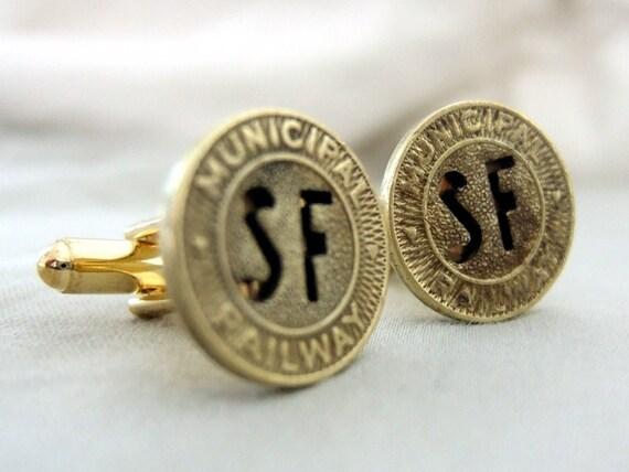 San Francisco Railway Token Cufflinks - Very Rare tokens