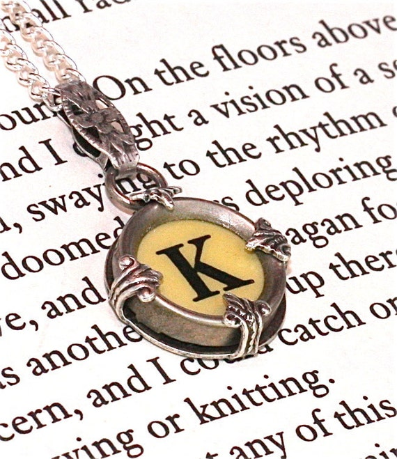 Victorian Typewriter Key Pendant and Necklace - Initial K