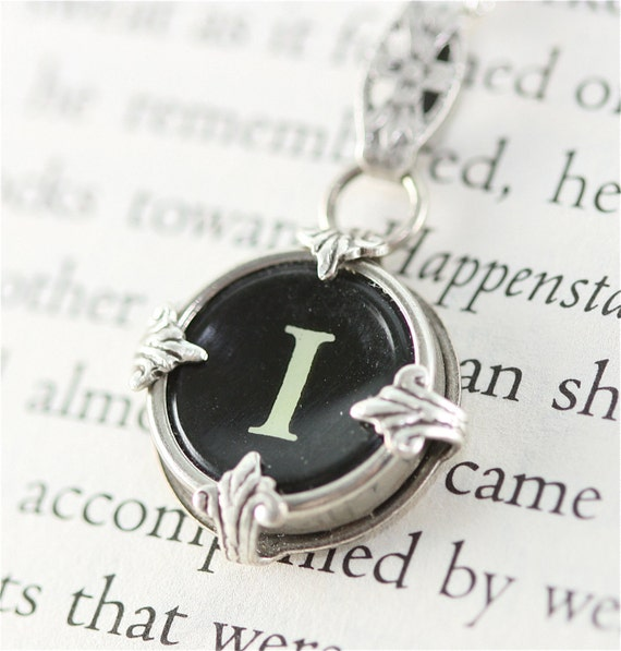 Victorian Typewriter Key Pendant and Necklace - Initial I