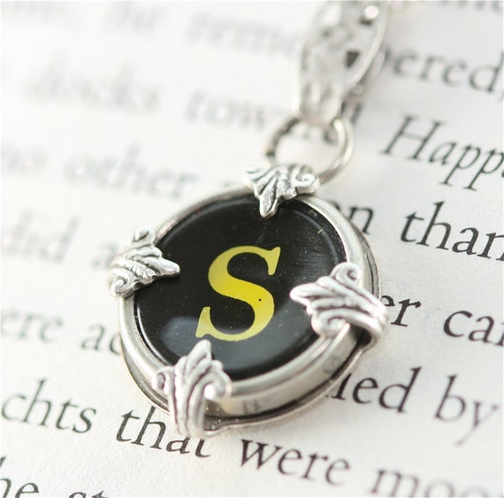 Victorian Typewriter Key Pendant and Necklace - Initial S