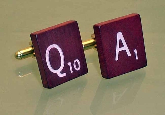 Custom Scrabble Burgundy Deluxe Gold Plated Cufflinks Cuff Links FREE GIFT BAG