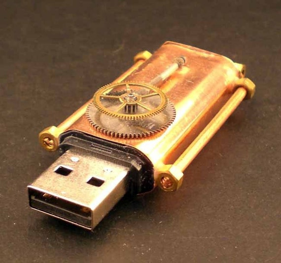 Steampunk Copper Flash USB Drive 2GB Gearing Detail