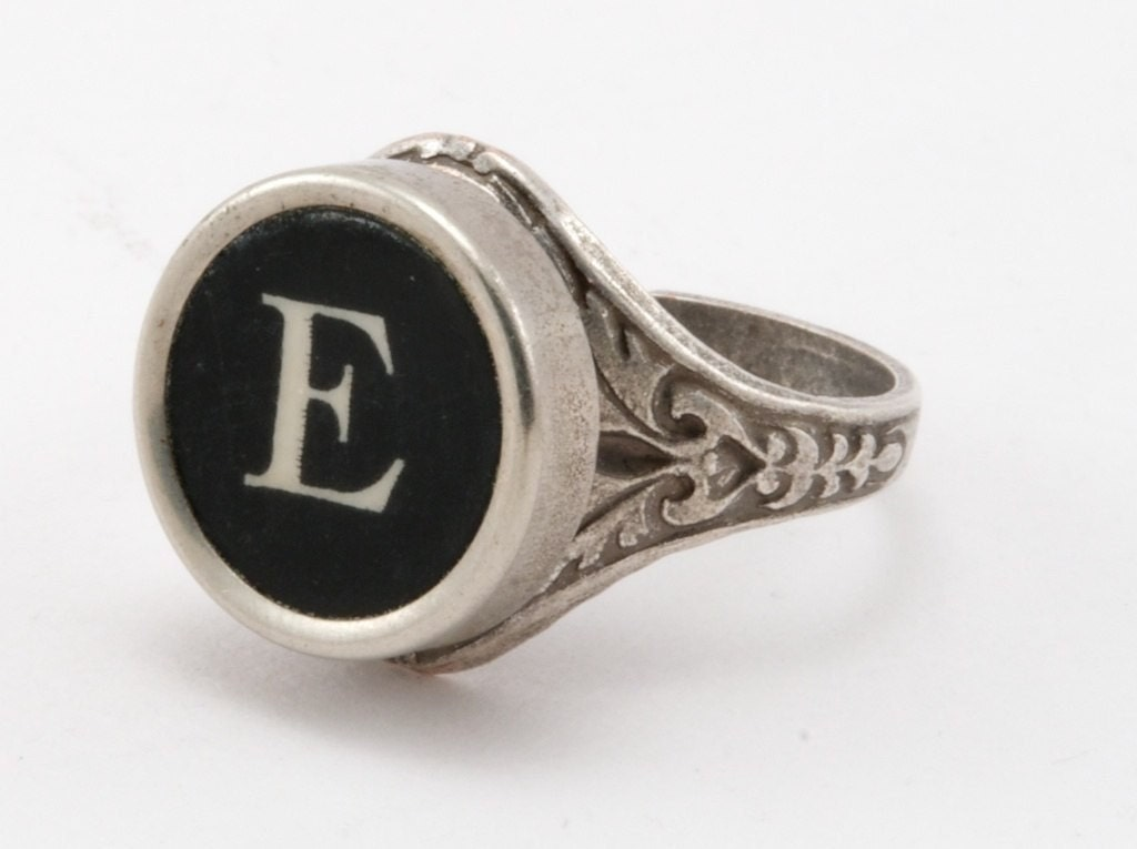 Letter e antique typewriter oak leaf ring fully adjustable for Letter e ring