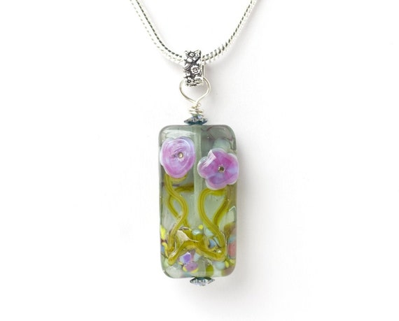 Sea Roses Flower Garden Handmade Lampwork Glass Bead Sterling Silver Pendant Necklace