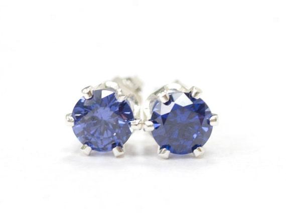 Round Blue Purple CZ Sterling Silver Pierced Earrings Studs