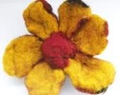 Chunky felted fall flower brooch