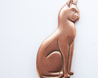 cat brooch, large, copper coloured