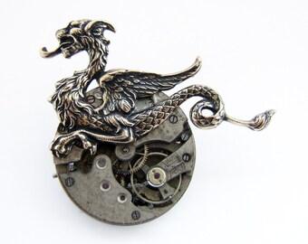 Steampunk Wyvern brooch