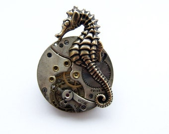 Steampunk grumpy seahorse brooch