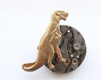 jurassic steampunk dinosaur brooch