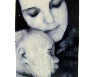 Mother and baby - Snug, ACEO print