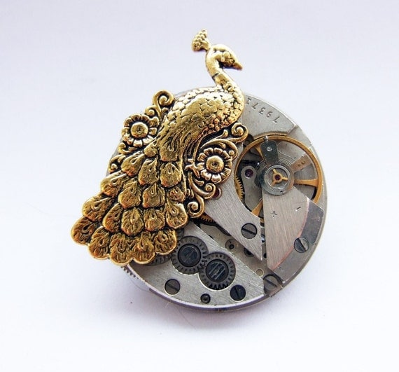 Steampunk peacock brooch
