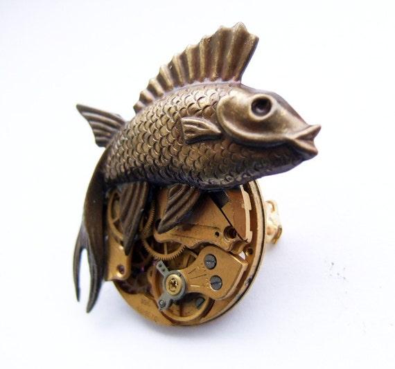 Steampunk punk fish brooch