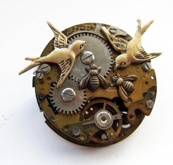 Steampunk clockwork birds and bees brooch