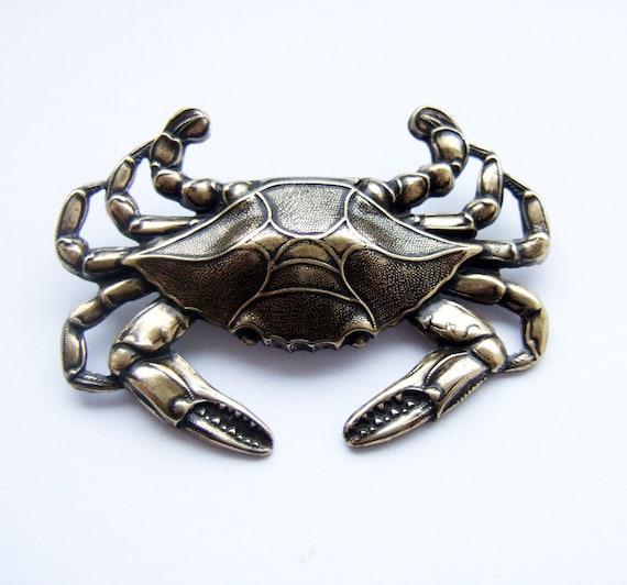 Giant brass crab brooch