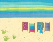 Collage Art Print - On the beach II - 8 x 10 or 10x13 Beach Print