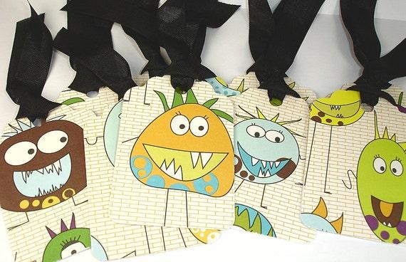 Handmade Monster Gift Tags set of Ten