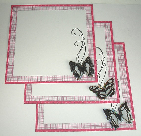 SALE Handmade Butterfly Square Flat Note Cards with Envelopes set of Five