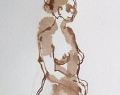 Stepping Ahead - Standing Figure Drawing - Ink on Paper