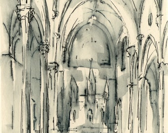 Our Lady Help of Christians - Church Interior - Ink Drawing - by Michelle Arnold Paine