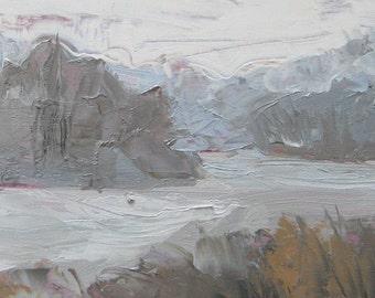 Reservoir Snowscape - Landscape Oil Painting - Framed