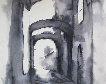 Assisi Ink Drawing  -- Original - by Michelle Arnold Paine