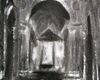 St. Peter's Basilica Rome - Framed Monotype - by Michelle Arnold Paine