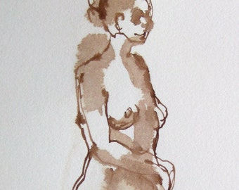 Dessin de Nu - Female Nude Figure Drawing - Brown Ink on Paper - Stepping Ahead - Standing Figure - Figurative Art - Ink Wash Drawing