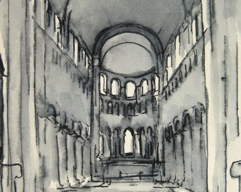 Romanesque Architectural Interior - Ink Drawing - by Michelle Arnold Paine