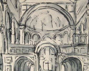 Ink Drawing - Architectural Interior - Florence, Italy -  by Michelle Arnold Paine