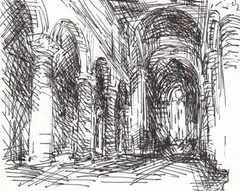 Orvieto Cathedral - Ink Drawing -  Matted to 8x10 -  by Michelle Arnold Paine