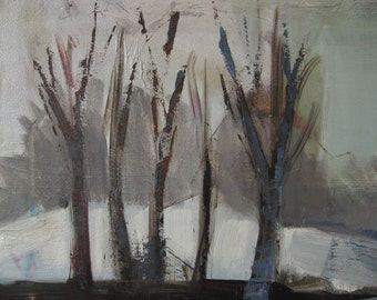 Winter Landscape Oil Painting - 15 x 30 - by Michelle Arnold Paine