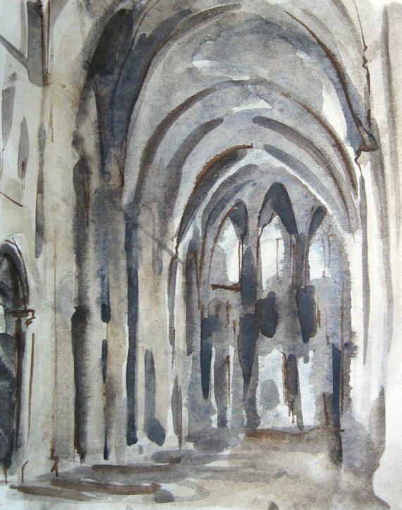 Sens Cathedral  2 - Original Watercolor Painting - by Michelle Arnold Paine