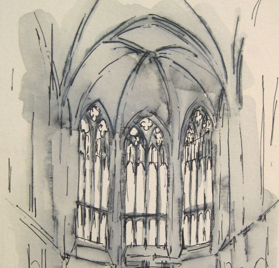 Ink Drawing - New York City Church  -  by Michelle Arnold Paine