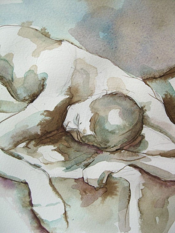 Figure Painting - Reclining Angela 3  - Ink and Watercolor on Paper -  by Michelle Arnold Paine