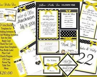 Delux Black and White Polka Dot with Yellow Ribbon Wedding CD Invitation Kit
