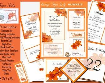 Delux Orange Tiger Lily Wedding CD Invitation Kit
