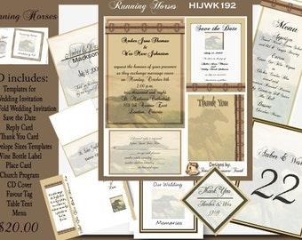Delux Running Horses Wedding Invitation Kit on Cd
