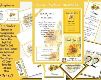 Delux  Country Sunflower Wedding Invitation Kit on CD
