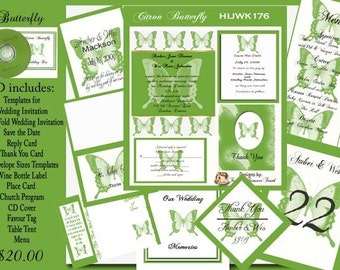 Delux Citron Butterfly Wedding Invitation Kit on CD