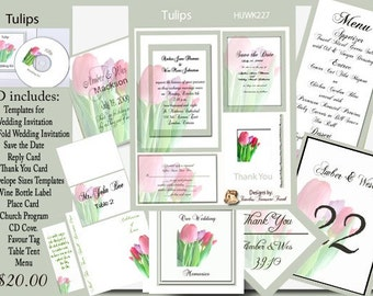 Delux Tulips Wedding Invitation Kit on CD