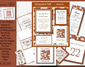 Delux Tagerine Fall Wedding Invitation Kit on CD