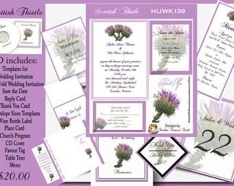 Delux Scottish Thistle Wedding Invitation Kit on CD