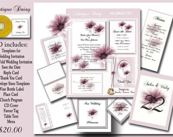 Antique Daisy Wedding Invitation Kit On CD