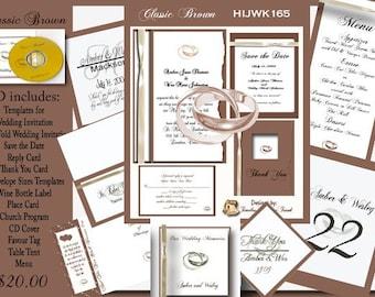 Classic Brown Wedding Invitation Kit on CD